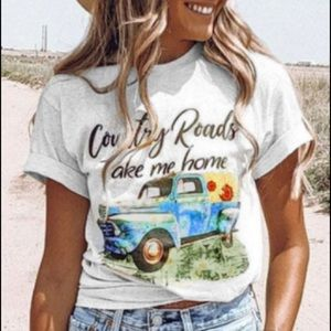Country Roads Take Me Home T Shirt-Country Girl